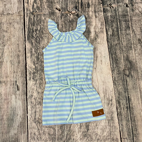 Sadie Romper-Mint & Blue Stripe
