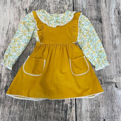 Lace Jumper Dress Set-Mustard