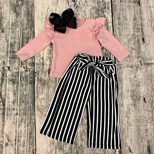 Light Pink Top with Stripe Paper Bag Pants