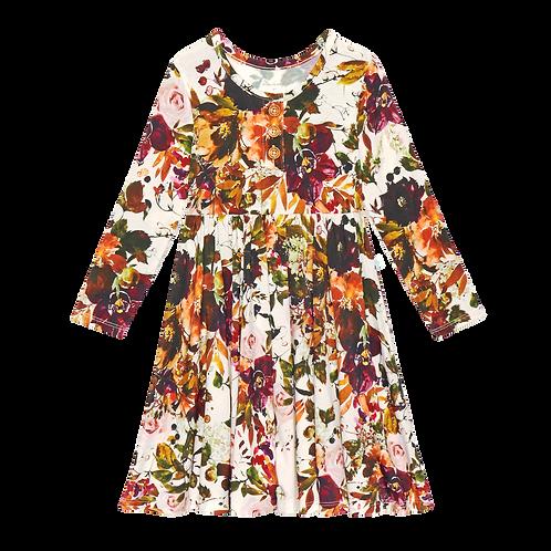 Corinne Long Sleeve Henley Twirl Dress