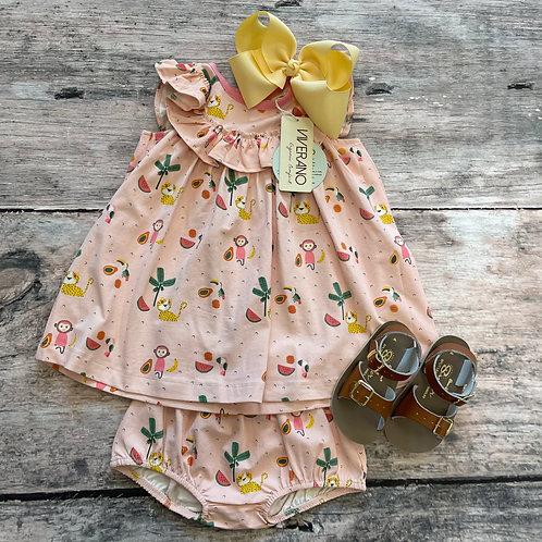 Sleeveless Ruffle Medallion Dress/Bloomer set