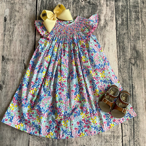 In Full Bloom Smocked Geo Bishop Dress