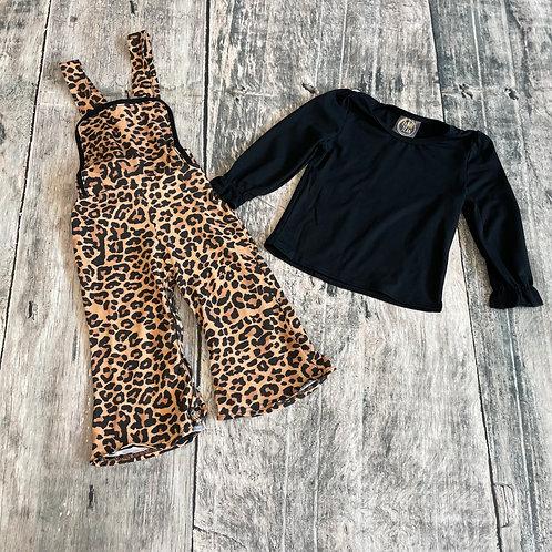 Leopard Overalls w/black Shirt