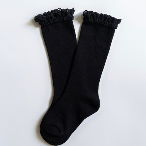 Lace Top Knee High Socks Black