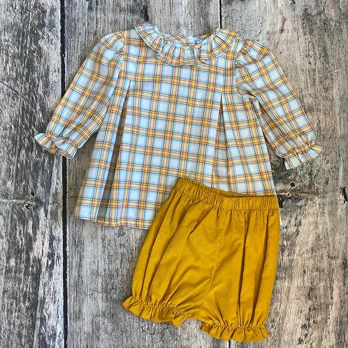 Orange Plaid Long Sleeve top Bloomer Set
