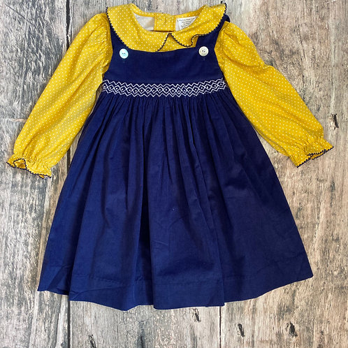 Navy Cord/Mustard Dot Geo Dress Set