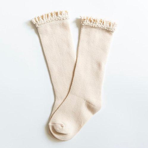 Lace Top Knee High Socks Vanilla Cream