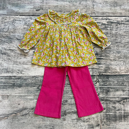 Mustard Floral Lace Collar Pant Set