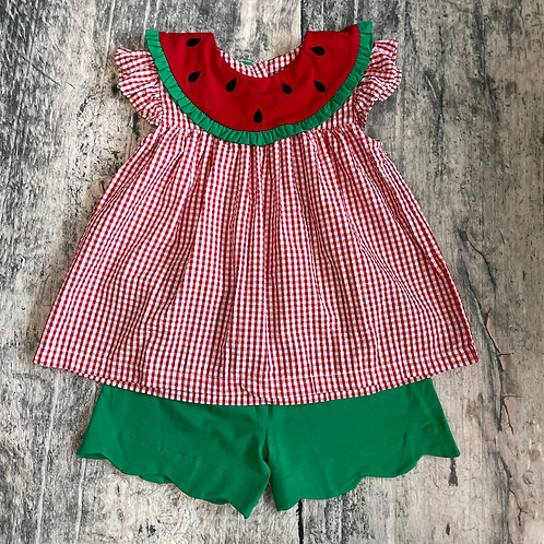 Watermelon Scalloped Short Set