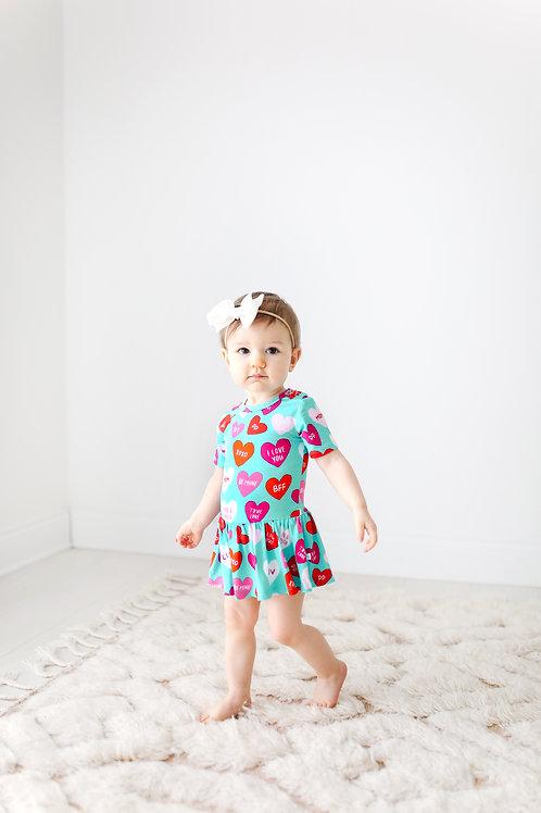 Valerie Short Sleeve Basic Twirl Skirt Bodysuit