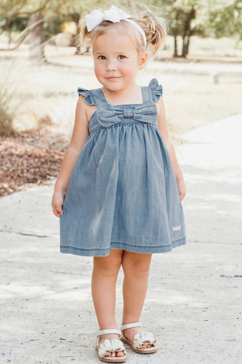 Light Wash Denim Flutter Bow Dress