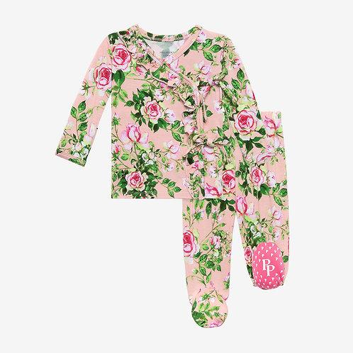 Renia Tie Front Ruffle Kimono Set