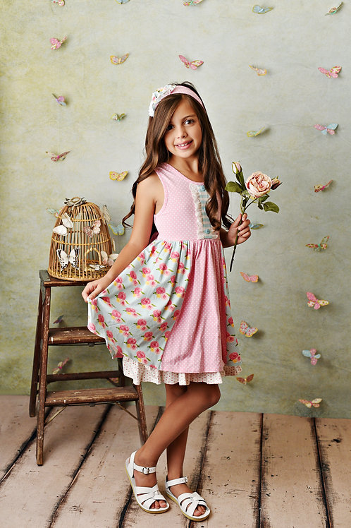 French Rose Dress w/Shortie