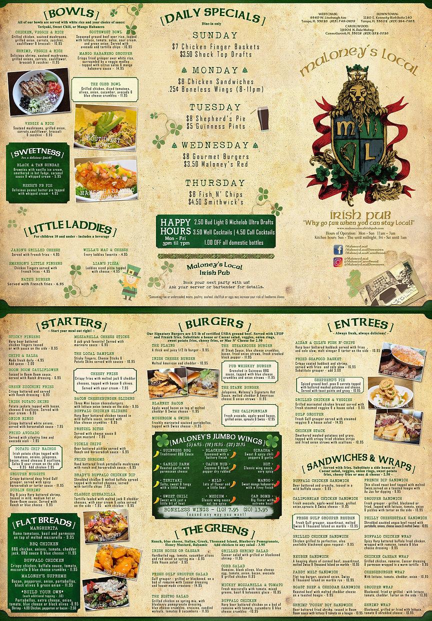 Maloney's Local Irish Pub Menu for web M