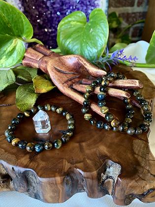 Blue and Gold Tiger's Eye Healing Crystal Bracelet (8mm)