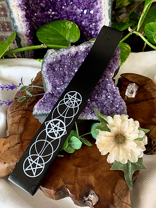 Pentacle Painted Wooden Incense Burner