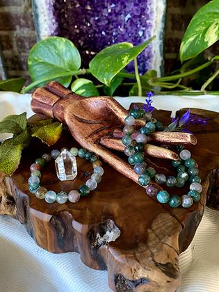 Moss Agate Healing Crystal Bracelet (8mm)
