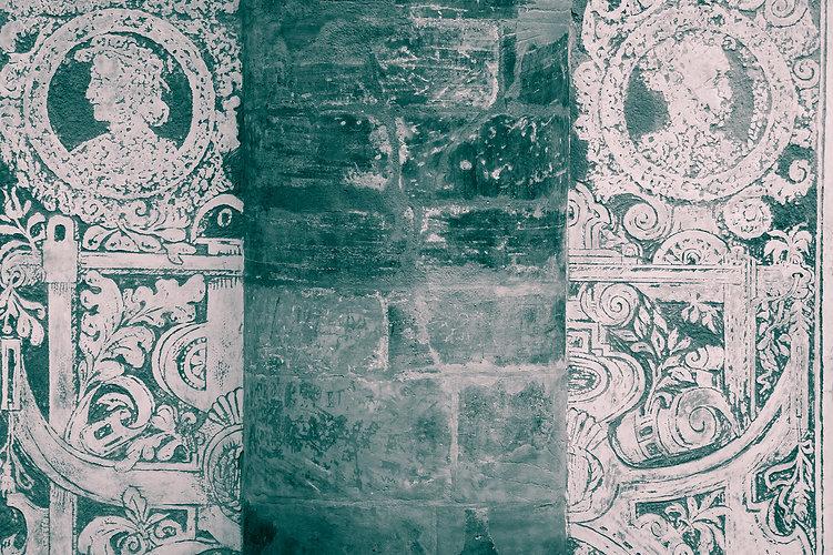 Grunge sgraffito renaissance wall backgr