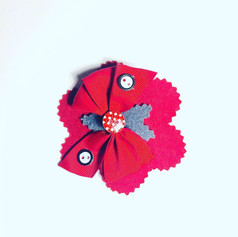 Red flower with bow hair clip £5