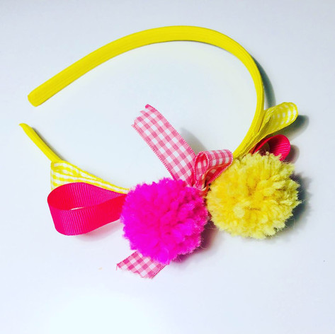 Pink & Yellow pompoms hairband £12