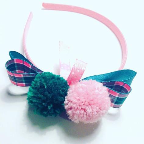 Pink & green tartan headband £12