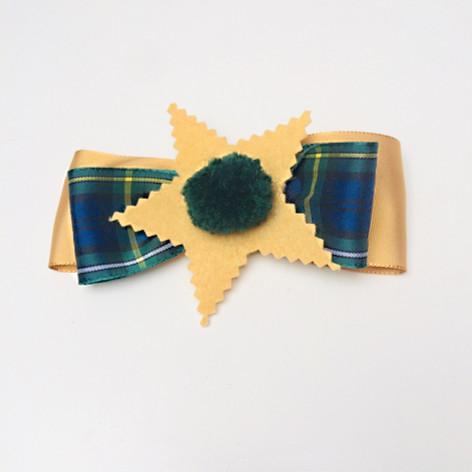 Green & mustard Tartan bow hair clip £5