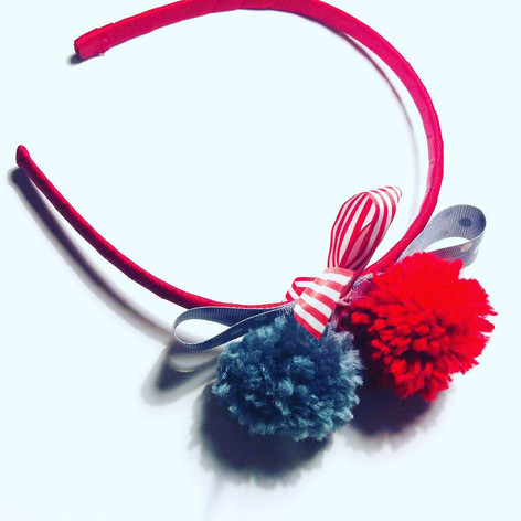 Red & Grey pompom headband £12