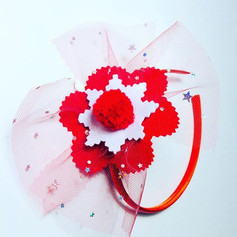 Red flower with tulle headband £10
