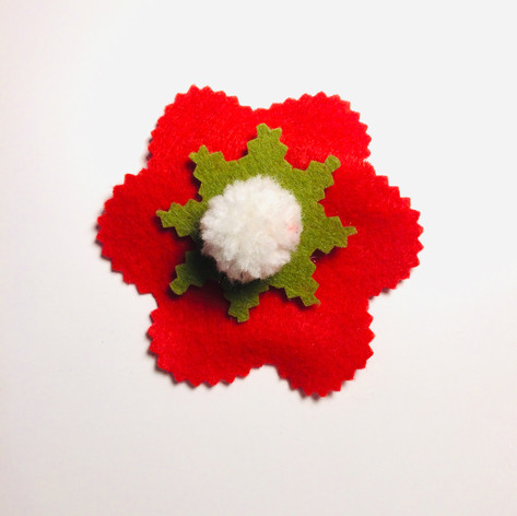 Red flower with pompom hair clip £4