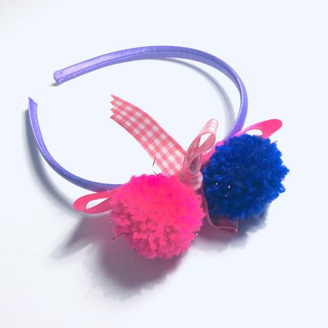 Fuxia & Purple pompom hairband £11
