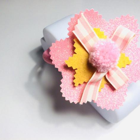 Pink glitery flower hair clip £4