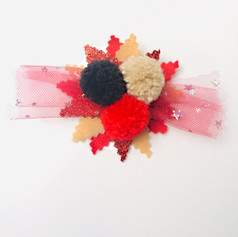 Multi colour flake with pom-tulle hair clip £7