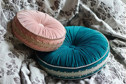 馬卡龍法式滾邊手工圓形抱枕