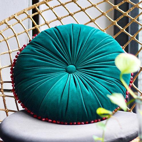 MULA DECO 繽紛球球花邊手工圓形抱枕 Ø40cm (寶綠)