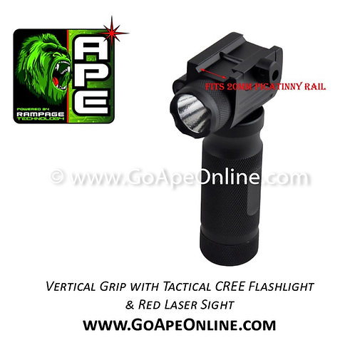 Rampage Vertical Grip with Tactical CREE Flashlight and Red Laser Sight