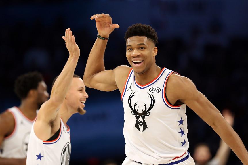 Stephen Curry Giannis Antetokounmpo Golden State Warriors Milwaukee Bucks nba Around the game