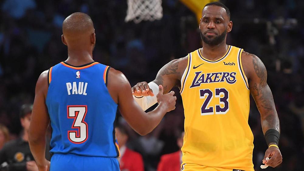Chris Paul Oklahoma City Thunder LeBron James Los Angeles Lakers nba Around the game