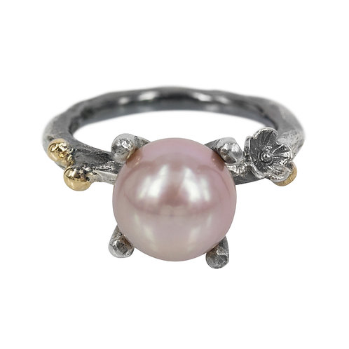 Fairytale - Sølvring med blomst og perle