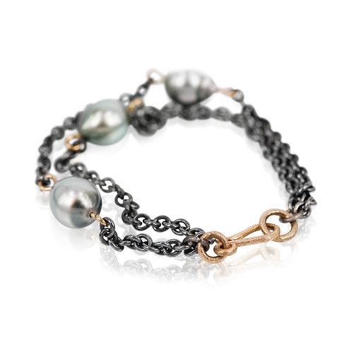 Sølv Armbånd med Tahiti perler