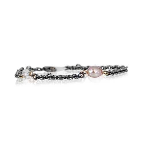 Sølvarmbånd med rosa ferskvandsperle