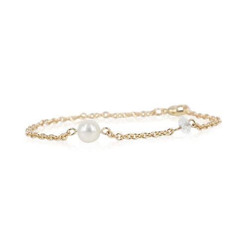 14 kt. guldarmbånd med perle