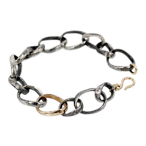 Elegance - Sølvarmbånd med guld led