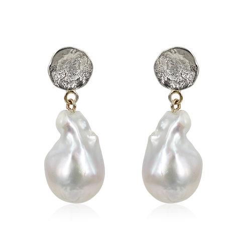 One of a kind - Barokke ferskvands perle øreringe