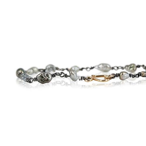 Perle armbånd med tahiti keshiperler - 14 kt. guld