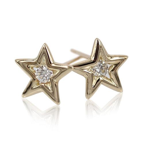 Shooting star - 14 kt. stjerne ørering