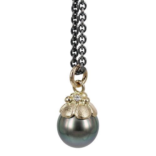 Elegance - 14 kt perle vedhæng med brillant