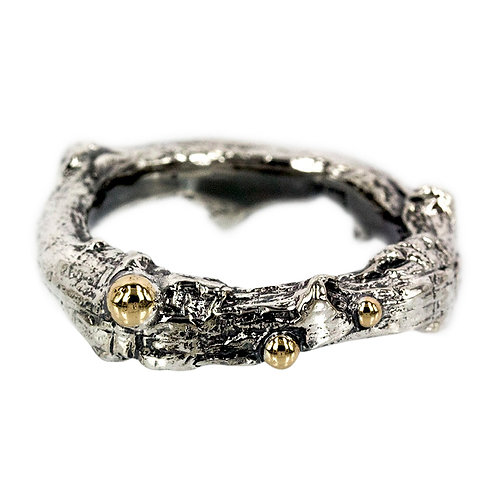Nature - Kraftig sølvring med guld