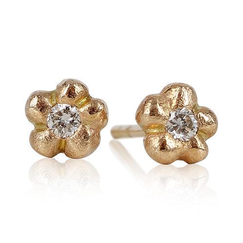 ForGet MeNot - 14 kt guld blomster ørering med brillanter