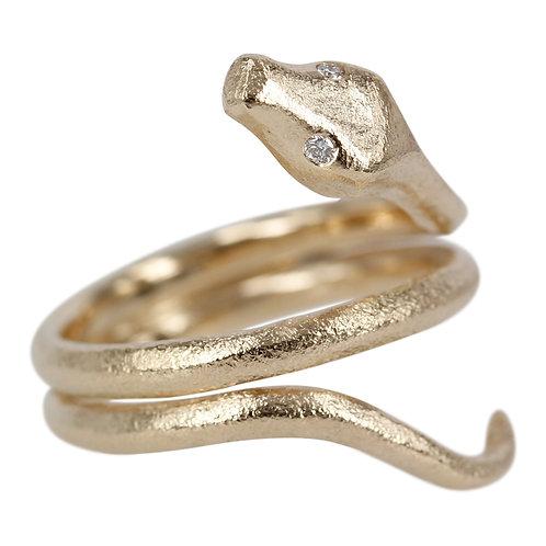 Happy Snake - 14 kt kraftig guld slange ring med brillanter