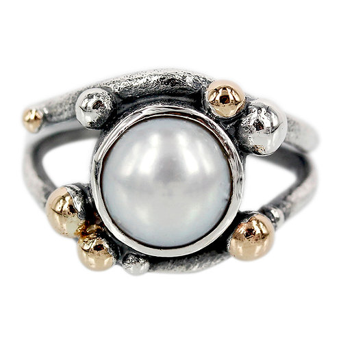 Bobbles - Sølvring med perle